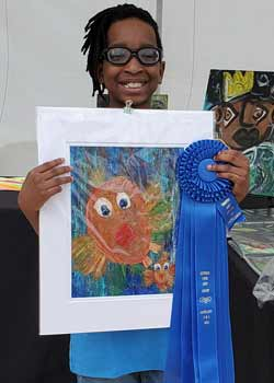 Keira Brighindi, Mixed Media, Age 10, Gulf Elementary and Baylynn Wiser, Painting, Age 10, Gulf Elementary